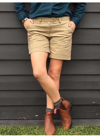 New In! Khaki Tradie Shorts now available at Green Hip Workwear for women 782399135