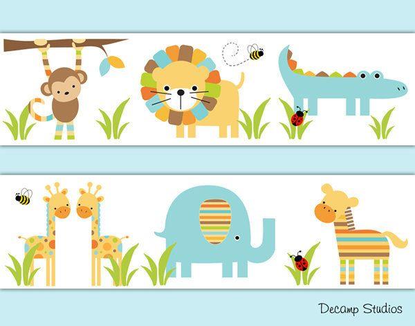 Safari Animal Nursery Baby Boy Wallpaper Border Wall Art Decals