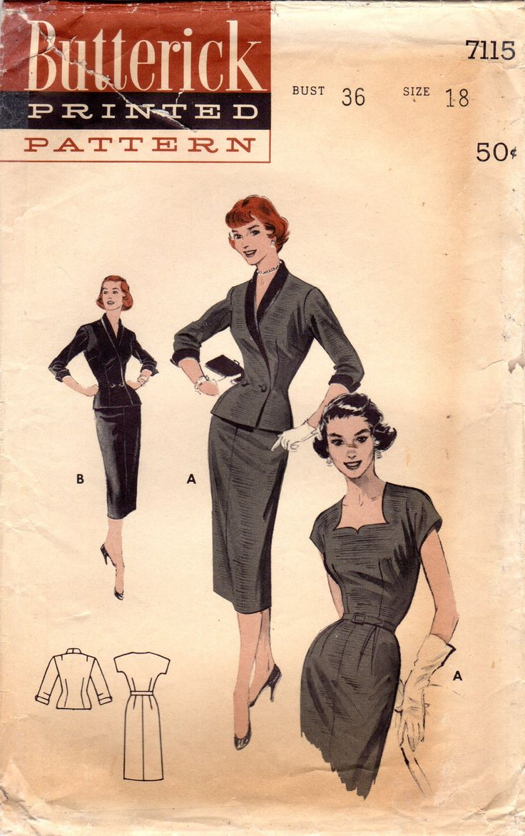 1950s Butterick 7115 Vintage Sewing Pattern Misses Sheath Dress, Fitted Jacket Size 18 Bust 36 from midvalecottage on Etsy Studio