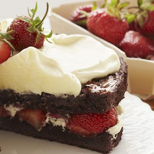 Strawberry Brownie Shortcake: A modern twist on a traditional favorite calls for our Double Fudge Brownies as the base. Weave in layers of fresh strawberries, whipped cream and pudding and you've created a sweet masterpiece! Strawberry Brownie Shortcake is a terrific dessert for the whole family to enjoy. Shortcake never tasted so good!