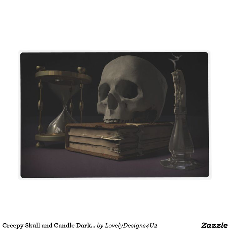 Creepy Skull and Candle Dark Halloween Placemat Laminated Place Mat