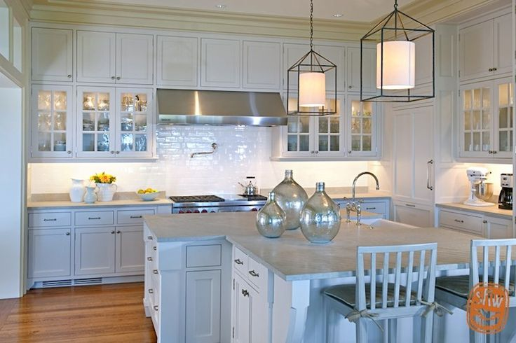 Blue Kitchen Cabinets Concrete Countertops Subway Tile Backsplash
