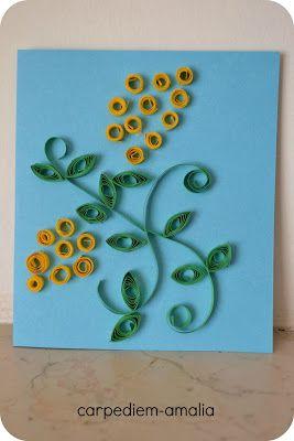 Carpe diem: Lavoretti coi bambini: festa della donna, mimosa realizzata col quilling