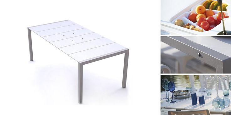 Table SUNDAY blanc et lin avec bacs apéritifs - Zoom
