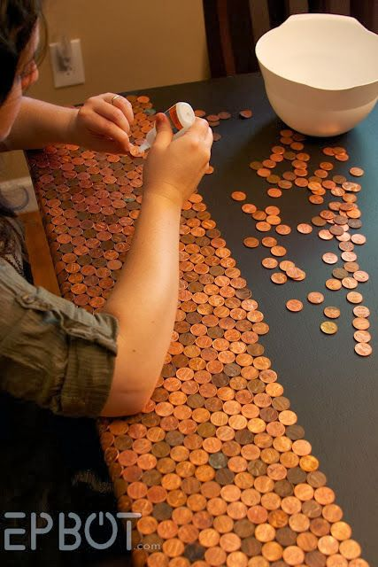 Step 1: P olish your pennies in a bowl with Tarn-X, dump them into a colander in the sink, rinse them well, place them on a towel to c...