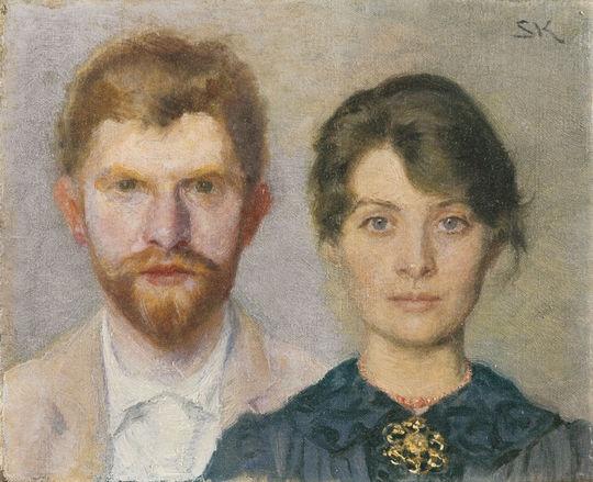 """Danish artist P.S. Krøyer (1851–1909) and Marie Krøyer (1867–1940 born in Stockholm, Sweden) """"Dobbeltportræt af Marie og P.S. Krøyer (Double-portrait of Marie and P.S. Krøyer)"""",1890. Oil on canvas,  15 × 18.7 cm © Courtesy Collection Skagens Museum, Skagen, Denmark"""