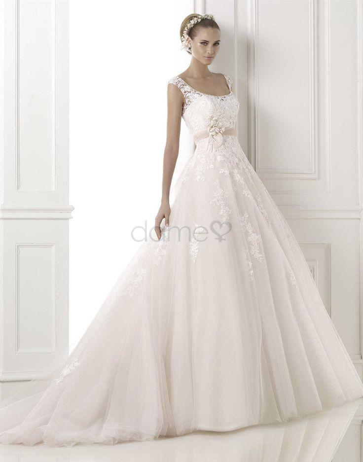 Tüll Satin Spitze A Linie Knopf aufgeblähtes bodenlanges Brautkleider