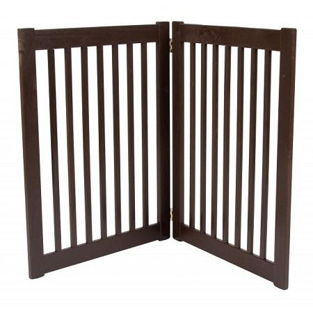 """Two Panel EZ Pet Gate - Large/Black. Features:   32"""" Tall   Adjusts up to 36"""" Wide   Bar Spacing 1.75""""   All Wood Construction   Available in Black, Artisan Bronze and Mahogany    Built to span;small open areas.The Two Panel EZ Pet Gates modular gates bring all new functionality to pet gates. With this collapsible pet gate;you be able to;block off any room in the house in a snap! Double action hinges allow for multiple set-ups so you can even block;those tough hallway..."""