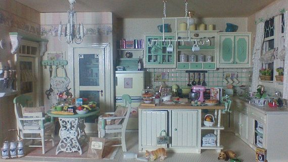 Bathroom Diorama Made Of Cereal Box Margarine Tub And: 156 Best Images About Dollhouse Kitchens On Pinterest