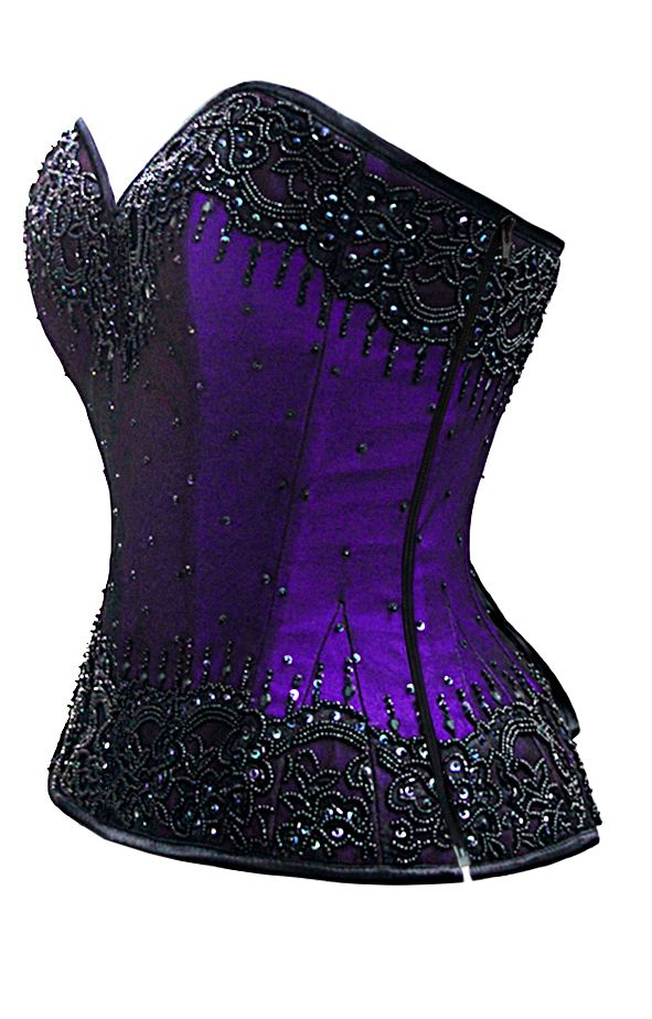 "Steel Boned and hand beaded this corset shimmers and sparkles, plus size runs up to a waist of 44""  The Violet Vixen - Burlesque Glimmer Purple Beaded Corset, $184.00 (http://thevioletvixen.com/corsets/burlesque-glimmer-purple-beaded-corset/)"