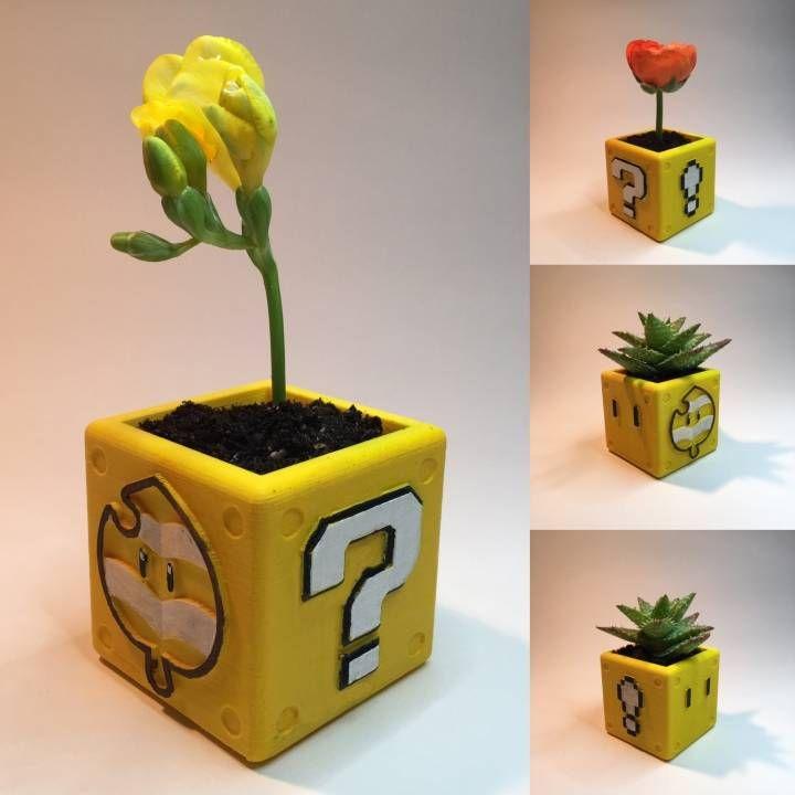 Download 3d Printed Mario Block Planter  by fotis mint