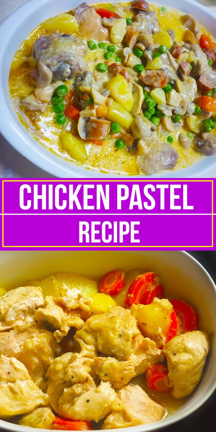 Chicken Pastel recipe is a recipe that is highly influenced by the Spanish colonizers in the Philippines. This is a similar version of the American's chicken pot pie. Chicken Pastel uses the chicken breast thus making this recipe very easy to make since it only needs a little time to make the chicken tender, unlike if you are using other parts of the chicken.