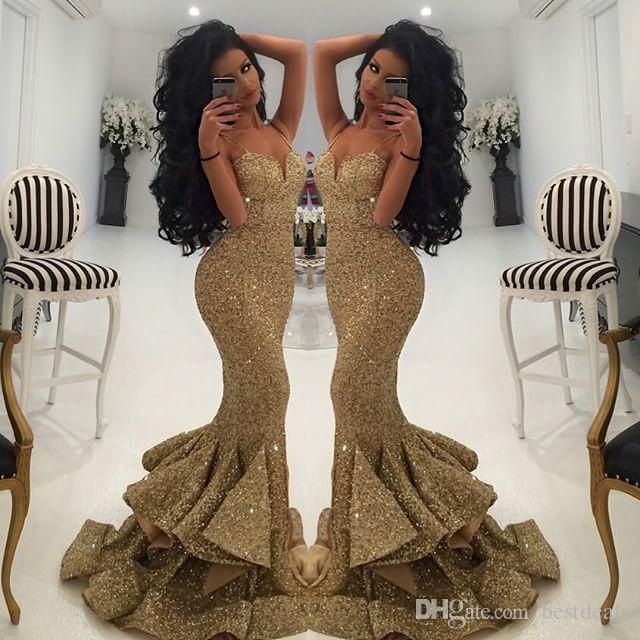 New Designer Bling Gold Sequins Mermaid Prom Dresses 2016 Spaghetti Open Back Ruffles Sweep Train Evening Gowns Pageant Dress Formal BA1086 Online with $116.02/Piece on Bestdeals's Store | DHgate.com