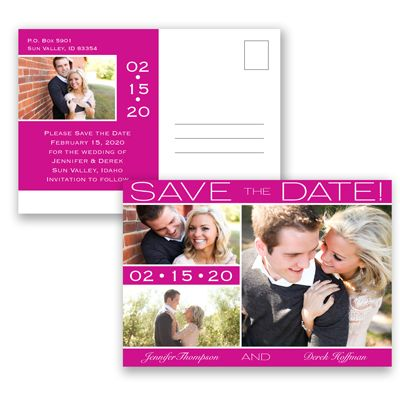 Color Bands Photo - Begonia - Photo Save the Date Postcard   Invitations By David's Bridal
