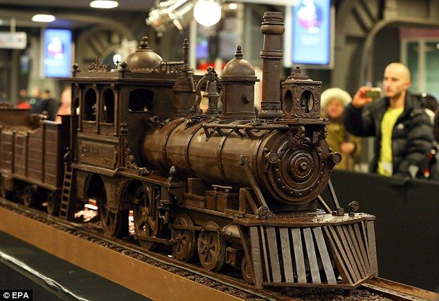 All abord the Chocolate Train! The amazing creation was made out of 1,285 kg of the finest Belgian chocolate and took 784 hours to create
