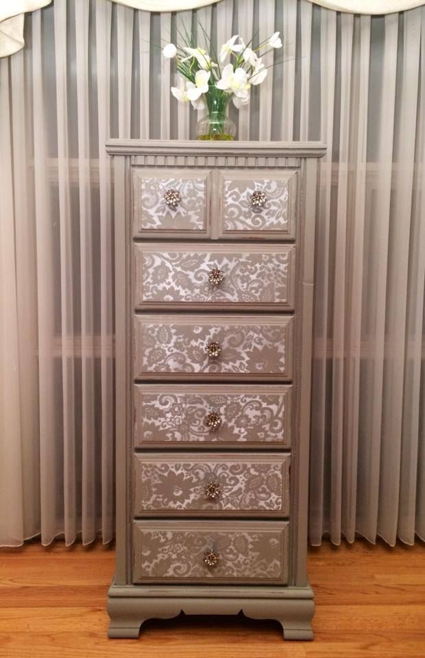 "Lingerie chest painted gray with ""lace"" drawer fronts by Twice Loved Furniture Creations"