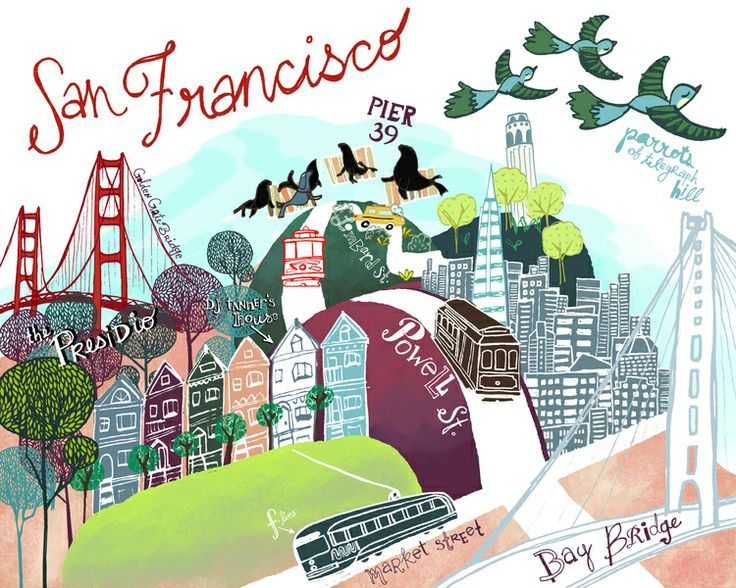 San Francisco map,  DJ' Tanner's house, sea lions, golden gate, birds of telegraph hill