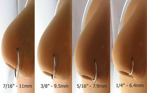 """Nose ring size chart- I really want the 1/4""""...."""