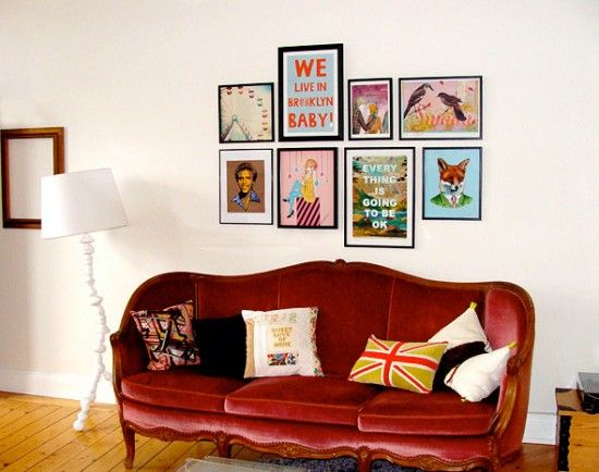 I love framed art from books and such!: Decor Ideas, Living Rooms, Velvet Couch, Posters Wall, Wall Posters, Red Velvet, Indie Art, Velvet Sofas, Red Leather Sofas