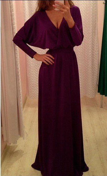 Pure Color V-neck V-back Floor Length Party Dress