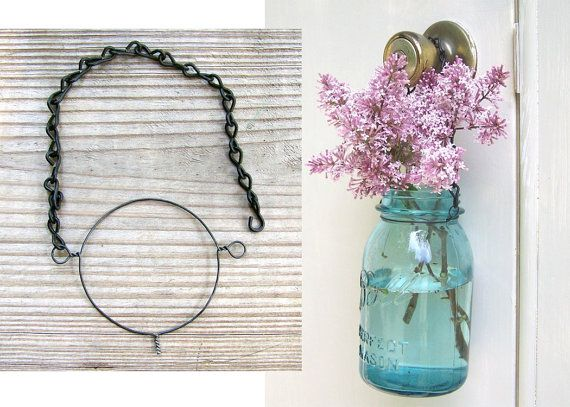 Mason Jar Lantern Kits 3 sets of wire and chain by MidwestFinds