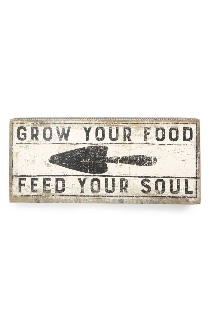 "- A retro-chic sign that says 'Grow Your Food, Feed Your Soul' makes a fresh accent piece in any room. - 16"" x 7"". - 1 lbs. - Wood/paper. - By Primitives by Kathy; imported."