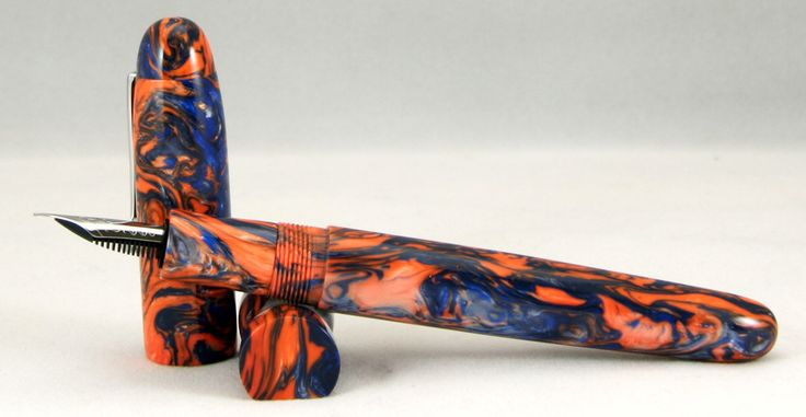 Custom Fountain Pen with pen pillow - orange and blue resin, converter filled.  #6 polished steel JoWo nib.