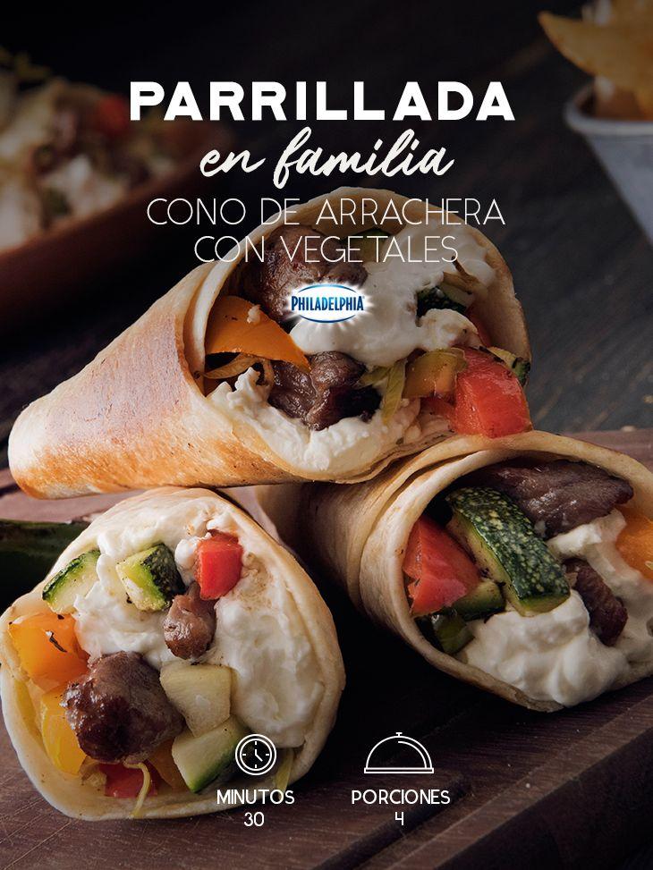 Este fin de semana comparte con tu familia un Cono de arrachera con vegetales.   #recetas #receta #quesophiladelphia #philadelphia #crema #quesocrema #queso #comida #ensalada #comida #comidamexicana #papa #pollo #recetaspollo #ensaladas #recetaensalada #cebolla #cocina #parrillada #carne