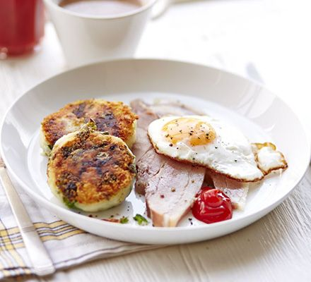 Braised bacon with colcannon cakes   BBC Good Food