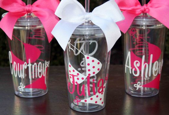 10 Personalized Bride or Bridesmaids Acrylic Tumblers with Bikini, Beach Theme - Great for Bachelorette Parties on Etsy, $120.00