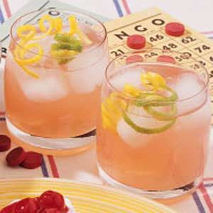 Lemon-Berry Pitcher Punch:  1/2 cup sweetened lemonade drink mix  4 cups cold water  2/3 cup cranberry juice, chilled  1-1/2 cups lemon-lime soda, chilled