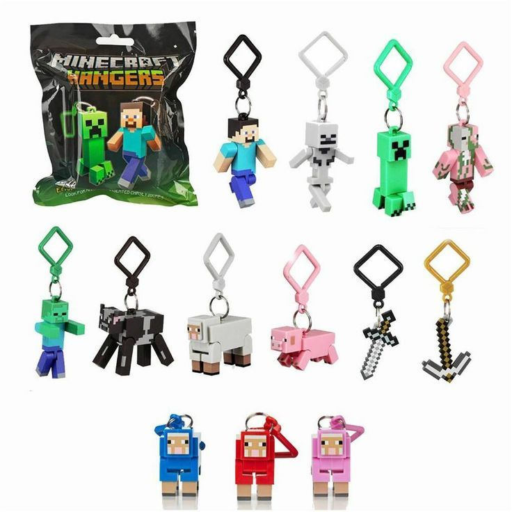 New! MINECRAFT Hangers Mystery Blind Pack Mini Figures Keychain Collectible toys for kids to collect!