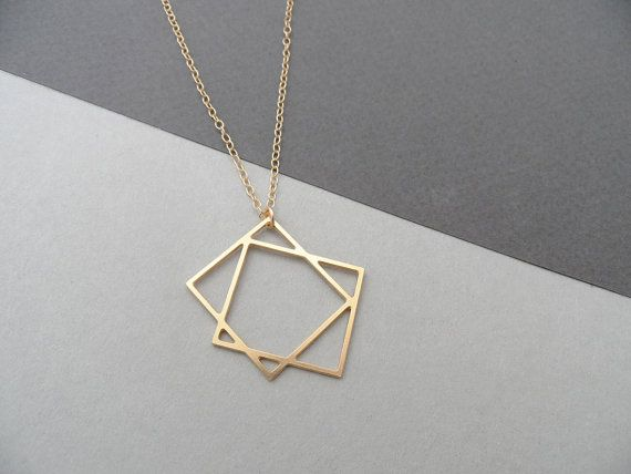 two squares necklace geometric jewelry by BonnyRabbitBoutique