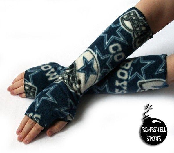 handmade fingerless gloves DALLAS COWBOYS fleece armwarmers-found them on etsy....going to make them myself! :)
