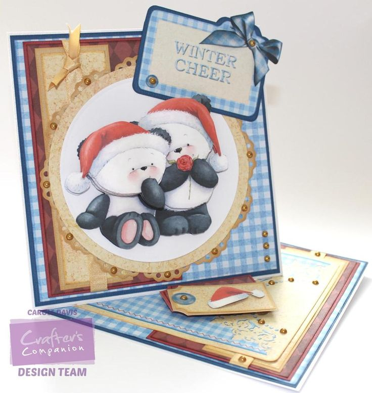 Carole Davis - @crafterscomp - Party Paws Christmas CDs - Twisted Easel Card - Decoupage 3 (A4) - Card Companion 5 - Design Set 6/3 - Co-ordinating Paper 6/1, 7/2 - Die'sire Chantilly Lace Stamping Frame - Centura Pearl A3 Snow White - Hint of Gold - Satin Finish Paper - Light Printable Card