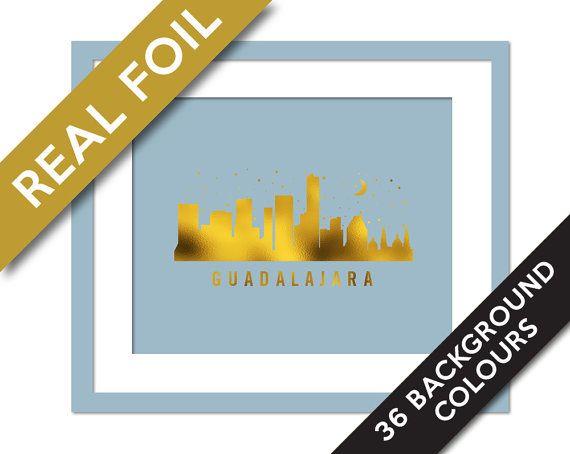 Guadalajara Skyline Gold Foil Print - Gold Guadalajara Poster - Gold Art Travel Poster - Cityscape - Mexico Art Print - Guadalajara Wall Art