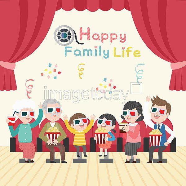 이미지투데이 일러스트 벡터 가족 영화 영화관 3D 팝콘 통로이미지 tongroimages imagetoday illust illustration vector family movie theater popcorn