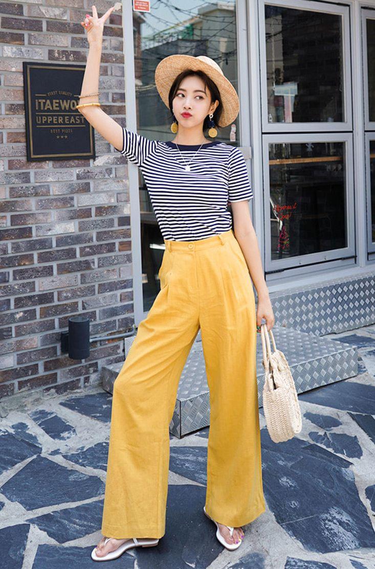 Wide Leg Linen Blend Pants Yellow Linen Pants Wide Leg Pants Outfit Linen Pants Outfit