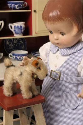 Effanbee's Patsy Ann doll with toy dog.(by PatsyAnn.net)