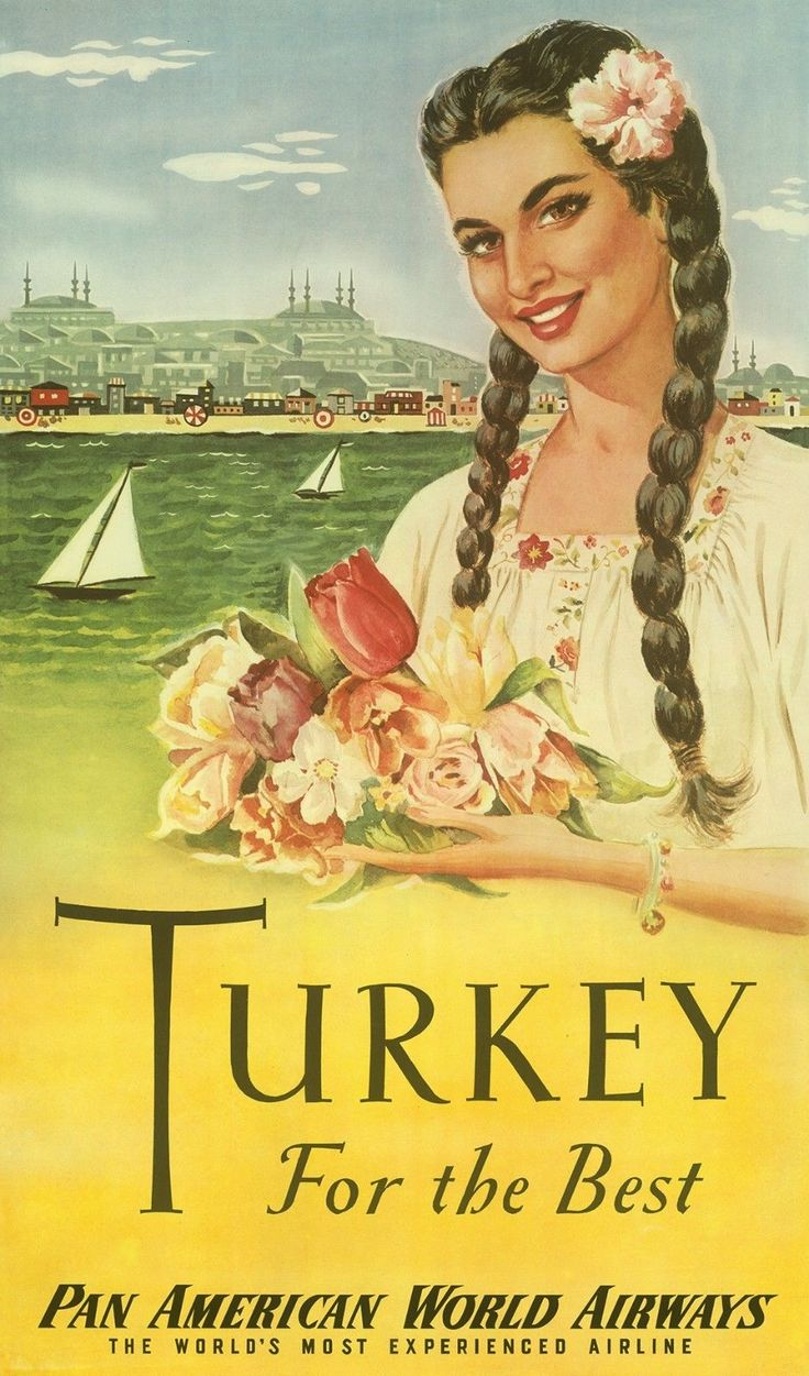 Vintage Airline Poster / Pan Am - Turkey For the Best