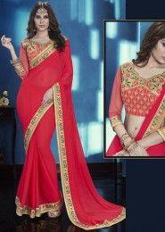 Designer Red Colored Chiffon Saree