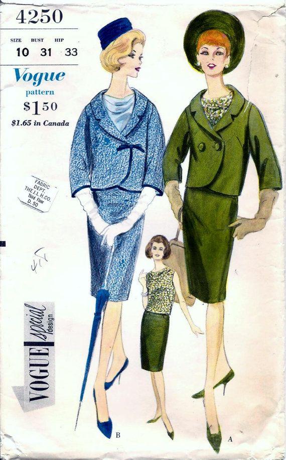 Vintage 50s 60s Sewing Pattern Vogue by vintagepatternstore