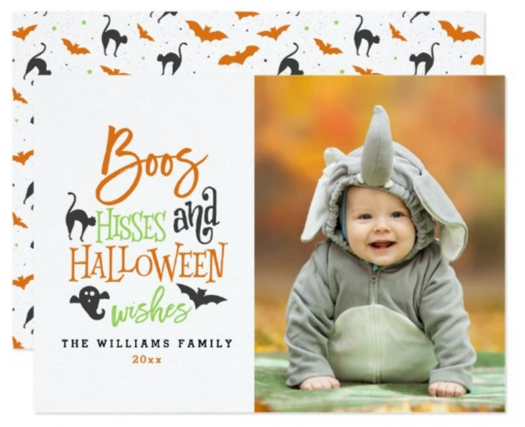 Boos Hisses and Halloween Wishes Halloween Photo Cards