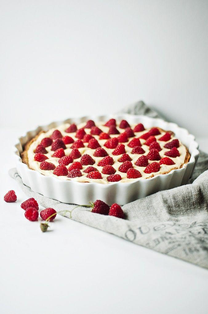 Lemon mascarpone tart with fresh raspberries