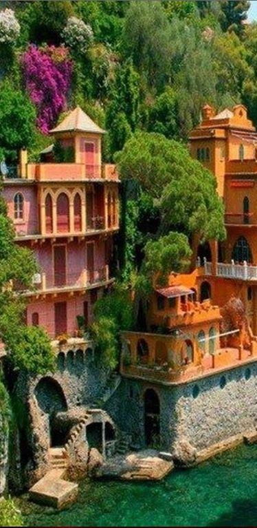 Seaside villas near Portofino, Italy • photo: Dan Breckwoldt on FineArtAmerica