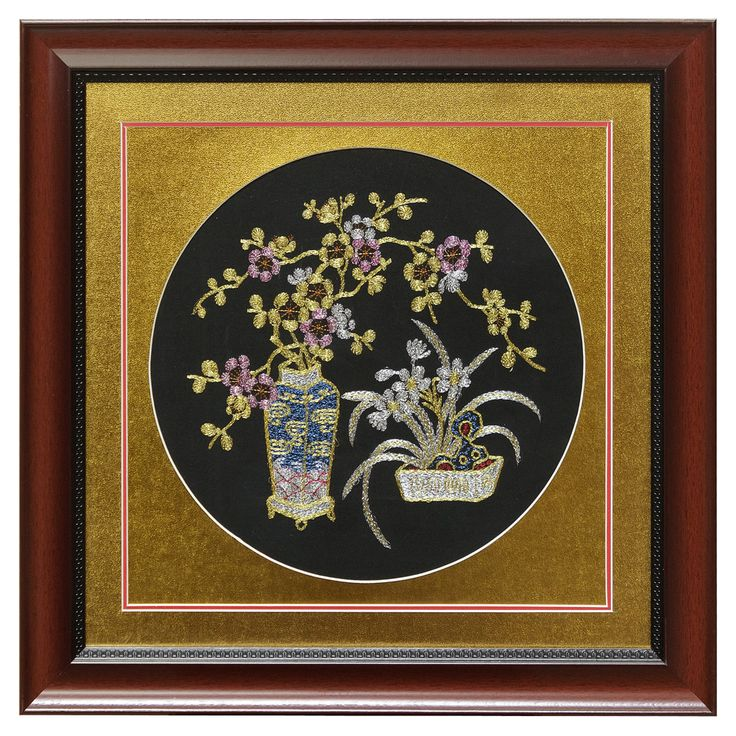 Silk Embroidery Frame with Cherry Blossom and Orchid