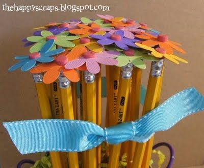 Pencil Bouquet.  This is a teacher gift idea but would work as centerpieces for a Back to School women's event theme too.