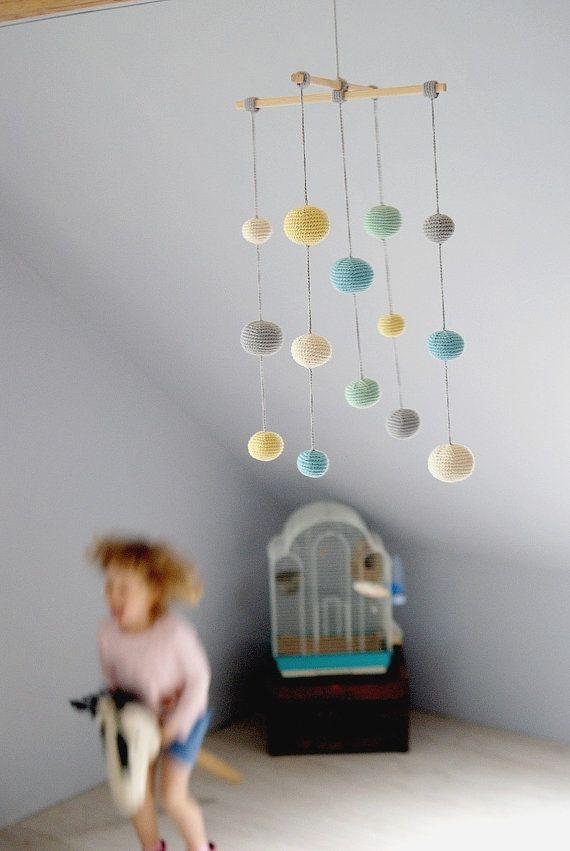 Crochet Pastel Baby Mobile  by YarnBallStories on Etsy, $66.00