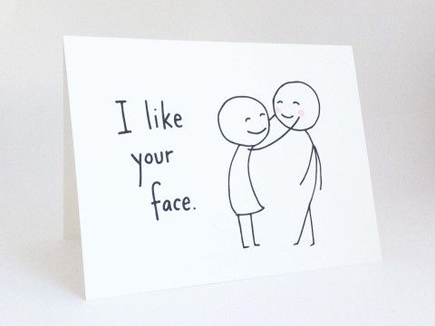 Funny Valentines Day Card // Cute Love Card for Boyfriend // Anniversary Card for Husband // Romantic Birthday Card // I Like Your Face