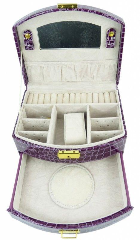 Šperkovnice koženková střední fialová 5845-3   Bižuterie Kozák